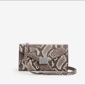 Express Brown Leopard Print Clutch With Straps
